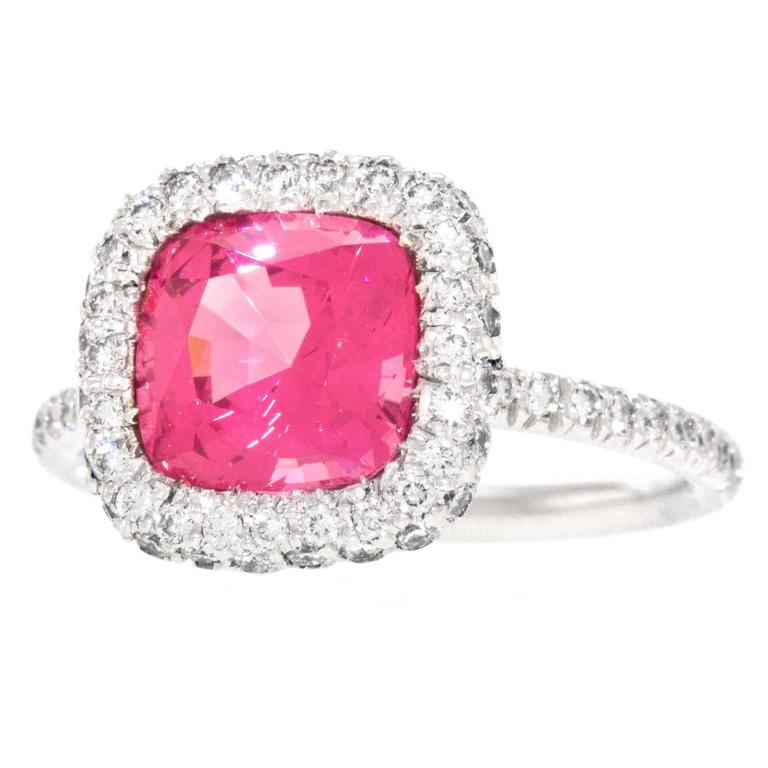Natural Pink Mahenge Spinel Platinum Ring GIA Report For Sale