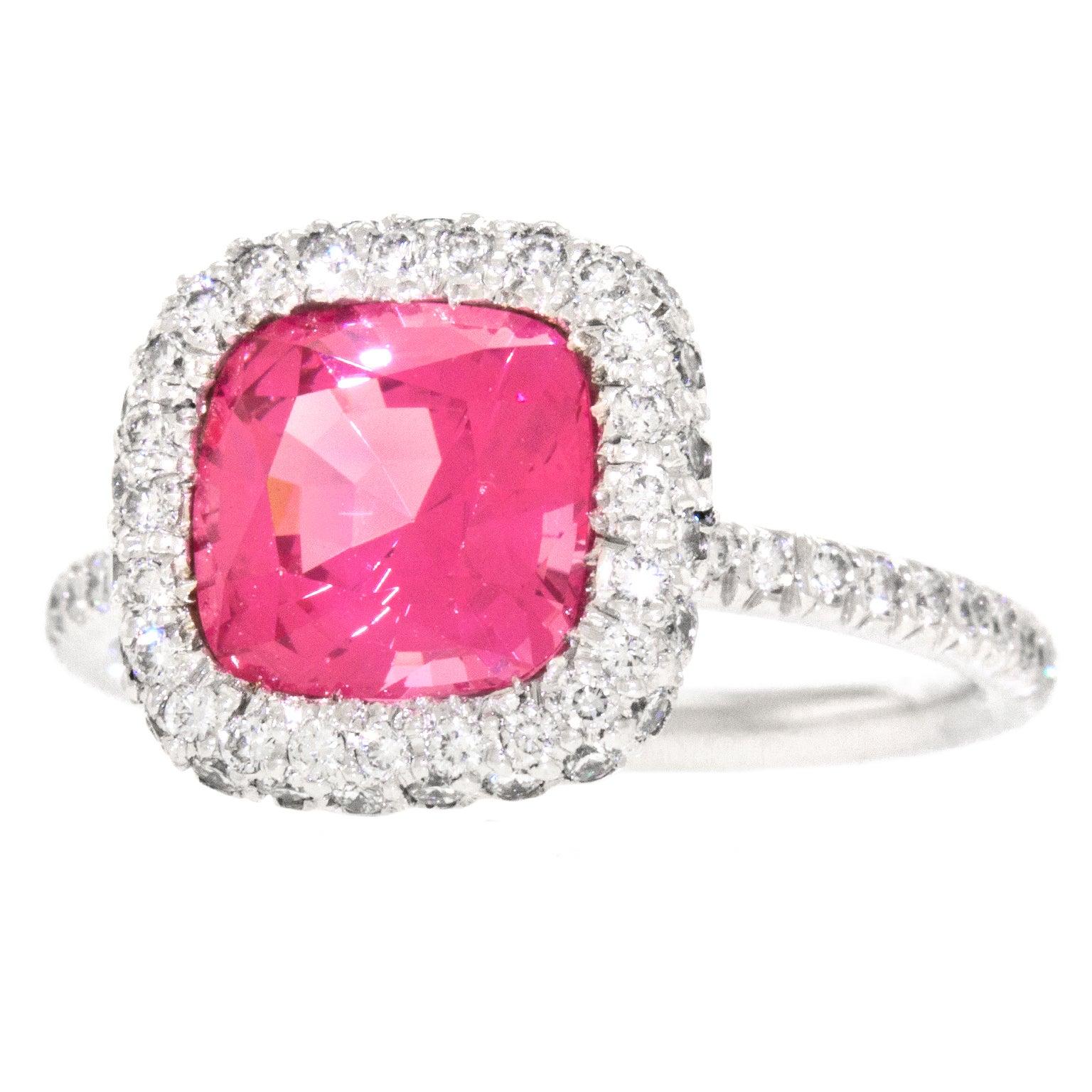 Fabulous 3.75 Carat GIA Cert Pink Spinel Diamond Gold Ring at 1stdibs