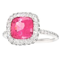 Natural Pink Mahenge Spinel Platinum Ring GIA Report