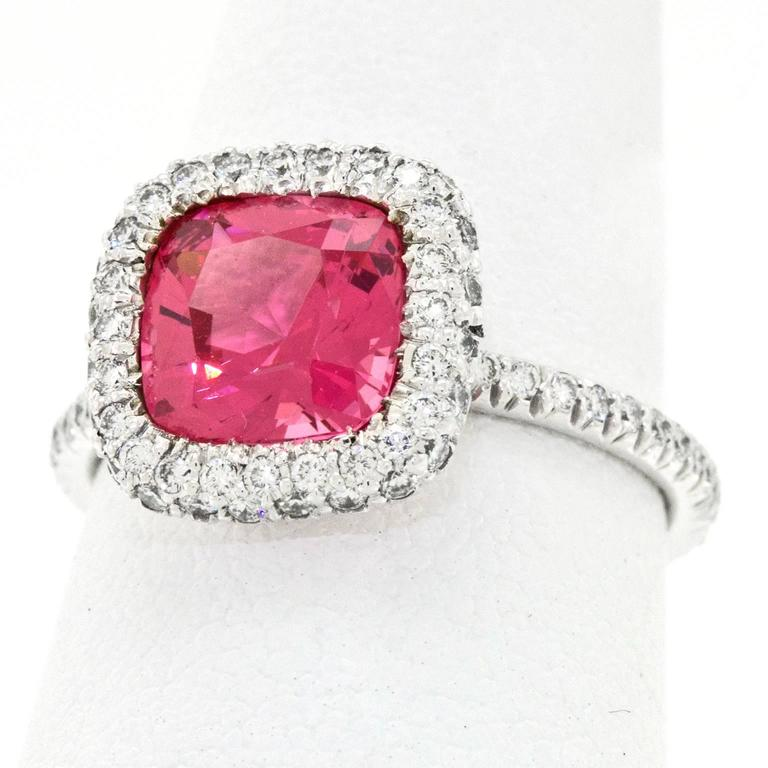 Natural Pink Mahenge Spinel Platinum Ring GIA Report For Sale 3