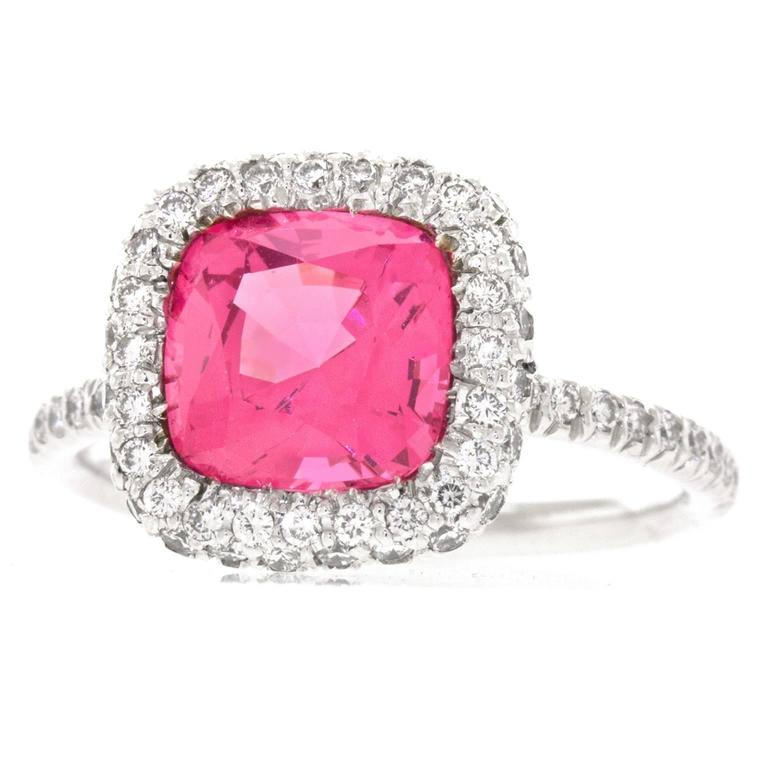Natural Pink Mahenge Spinel Platinum Ring GIA Report For Sale 5