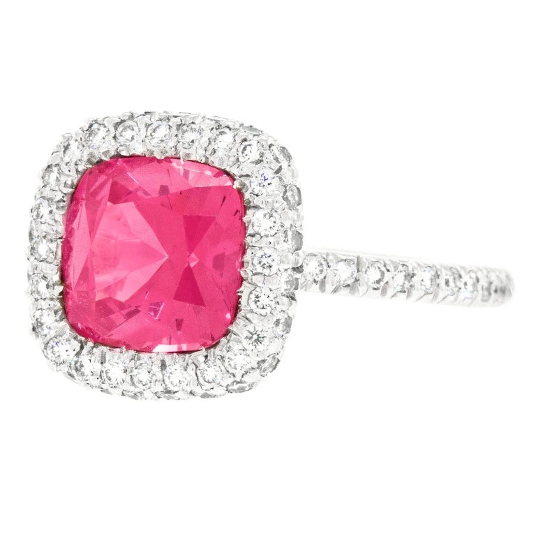 Contemporary Natural Pink Mahenge Spinel Platinum Ring GIA Report For Sale