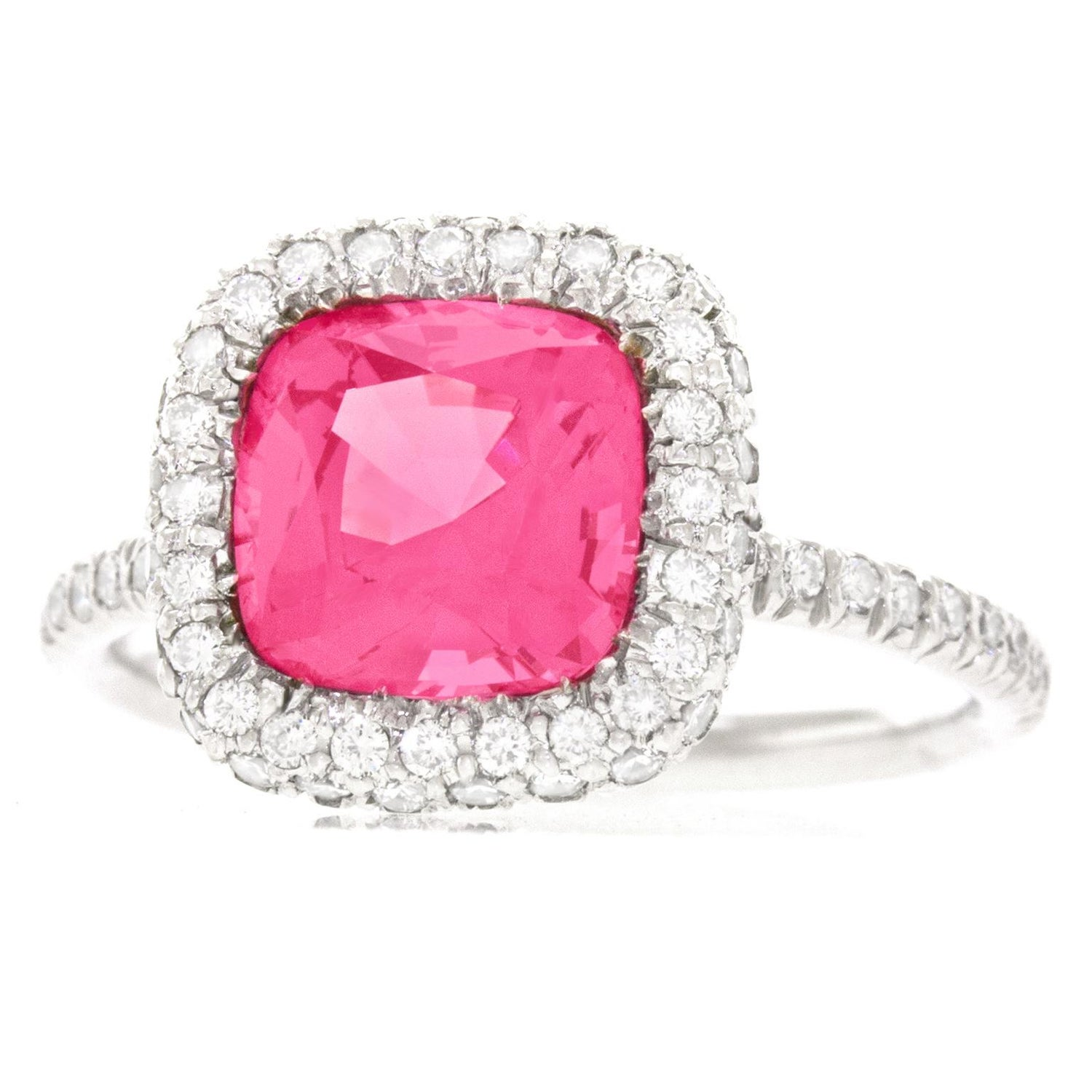 No Heat Pink Mahenge Spinel and Diamond Set Platinum Ring GIA For ...