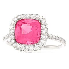 No Heat Pink Mahenge Spinel and Diamond Set Platinum Ring GIA