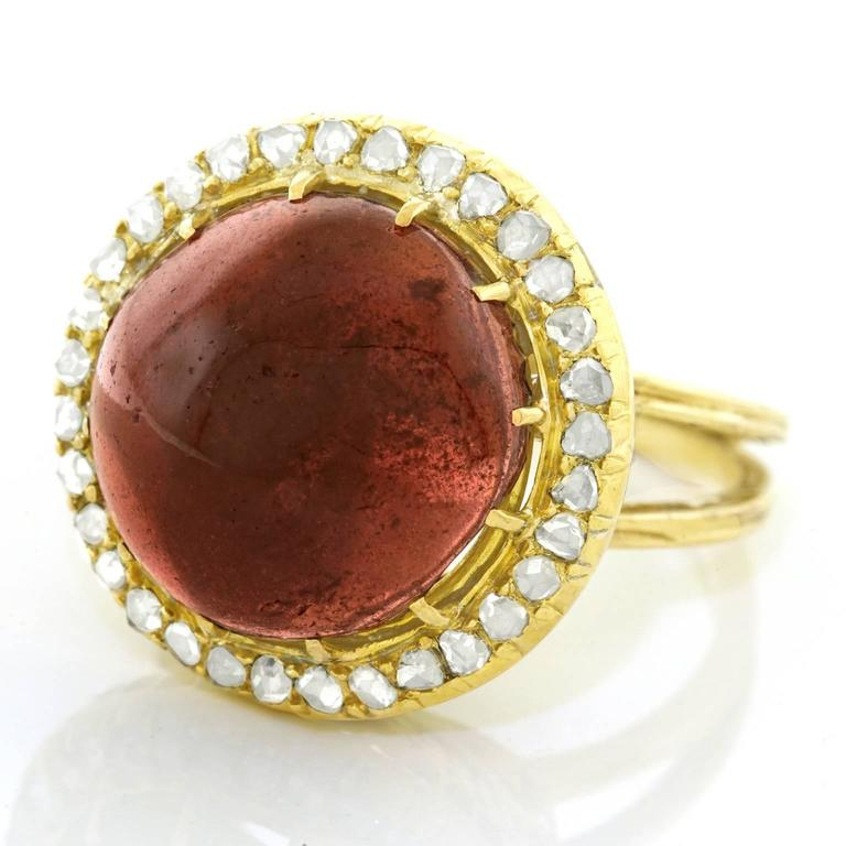 Antique Garnet & Diamond Gold Ring 3