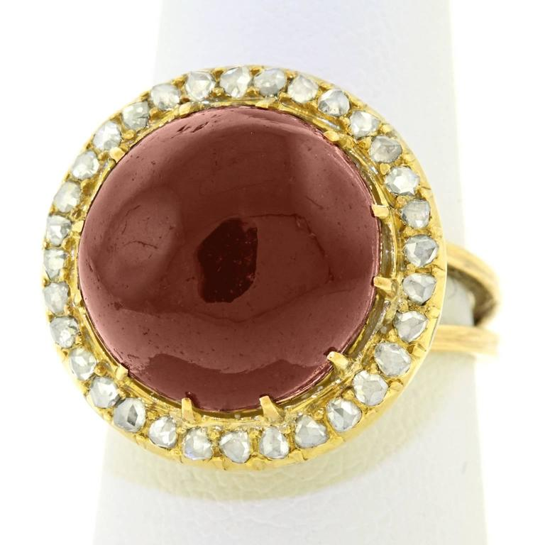 Antique Garnet & Diamond Gold Ring 8