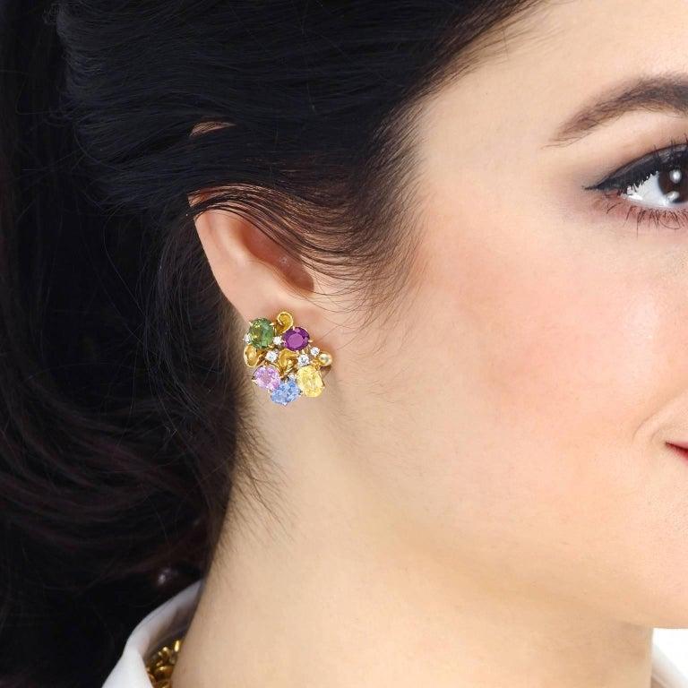Women's Emil Meister Sapphire and Diamond Set Gold Earrings For Sale
