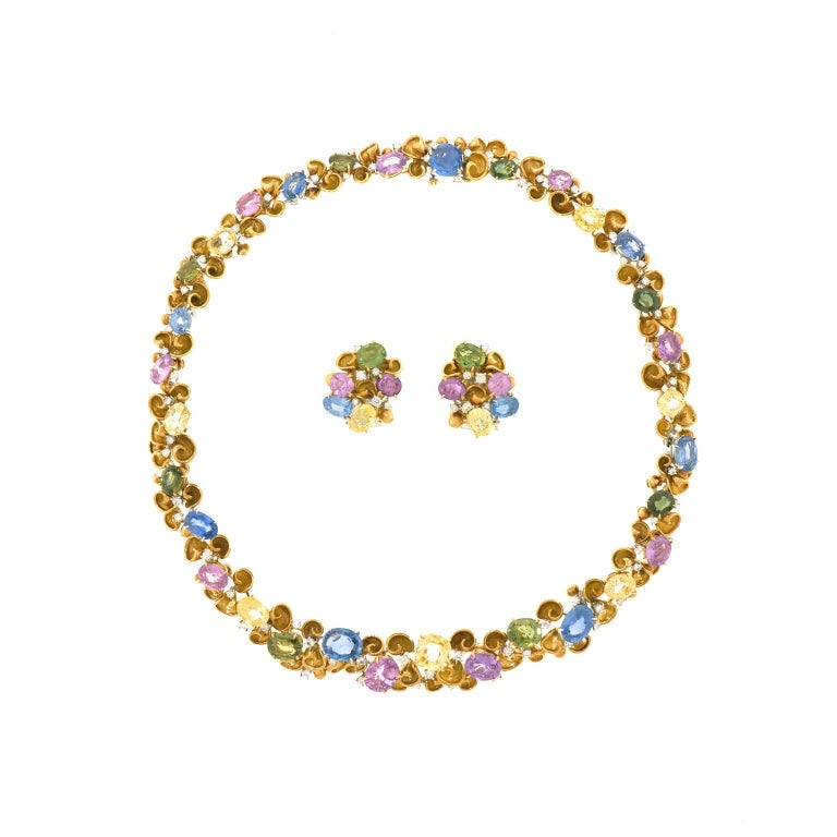 Emil Meister Sapphire and Diamond Set Gold Earrings For Sale 3