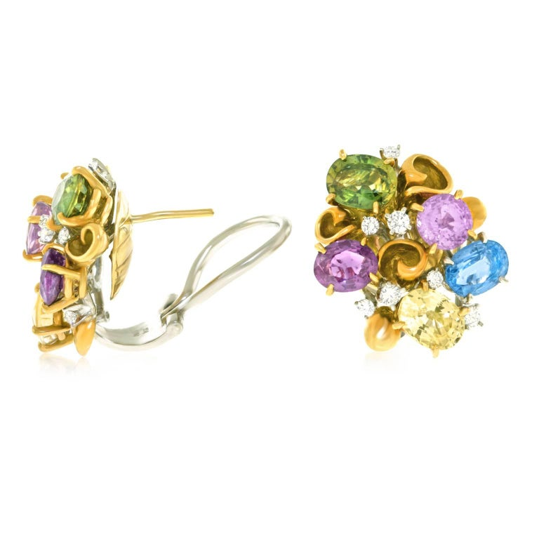 Emil Meister Sapphire and Diamond Set Gold Earrings For Sale 4