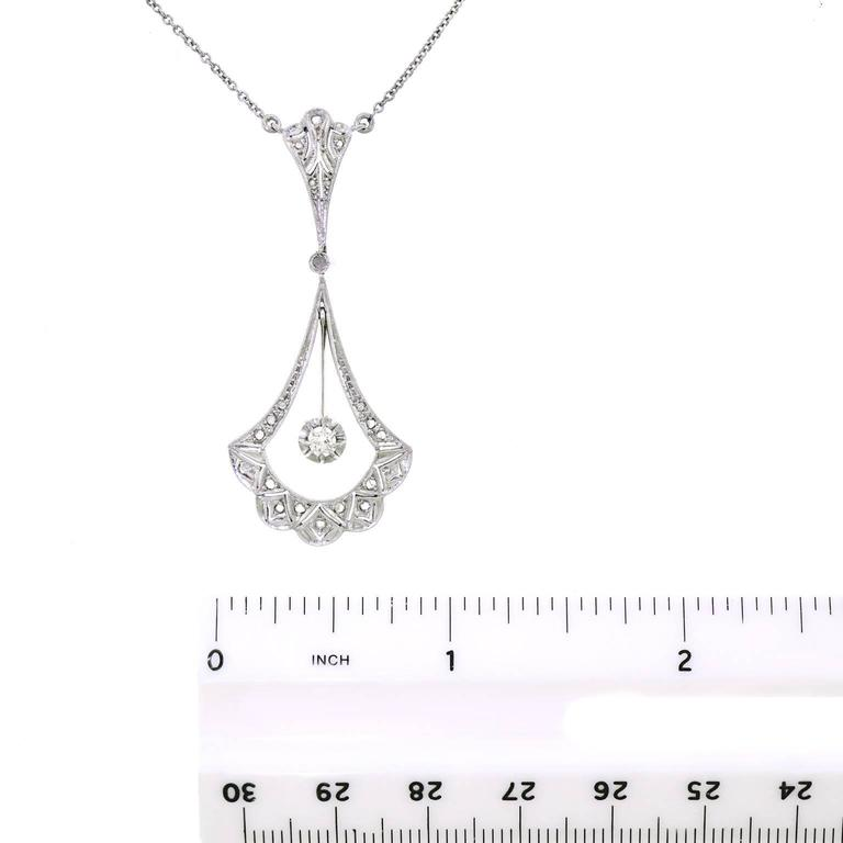 French Art Deco Diamond and Gold Necklace For Sale 2