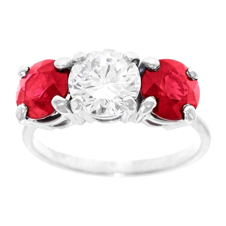Cartier Diamond and Ruby Set Platinum 3 Stone Engagement Ring GIA