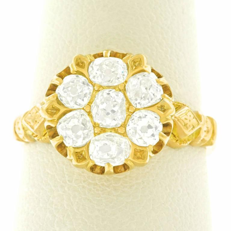 Antique Diamond Set Gold Candlelight Ring For Sale 3