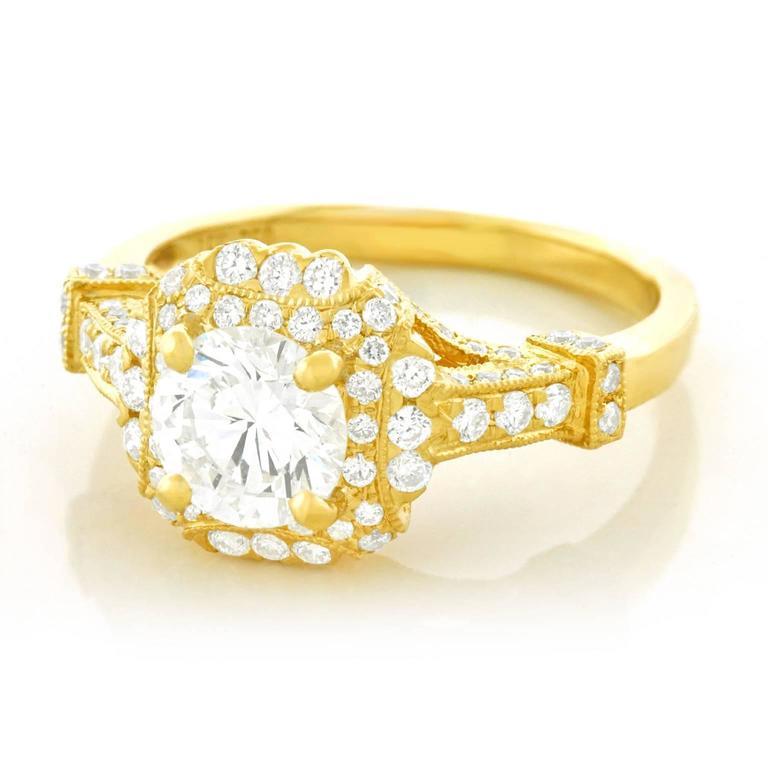 Fabulous 1.14 Carat Diamond Set Yellow Gold Ring GIA 7