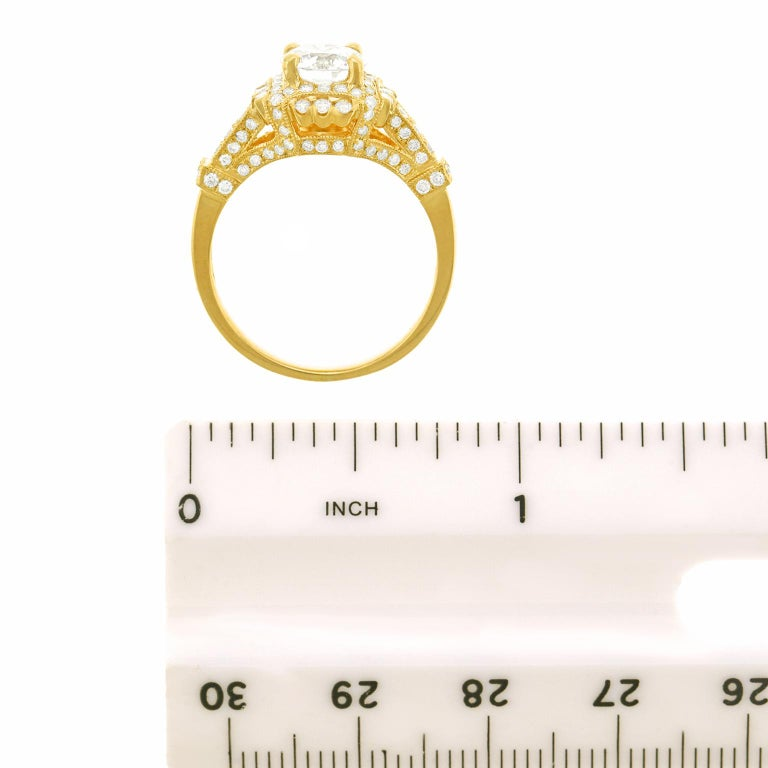 Fabulous 1.14 Carat Diamond Set Yellow Gold Ring GIA For Sale 2