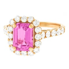 Spectacular 2.94 Carat Pink Sapphire and Diamond Set Gold Ring