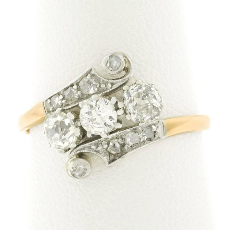 1920s deco gold and platinum ring for sale at 1stdibs