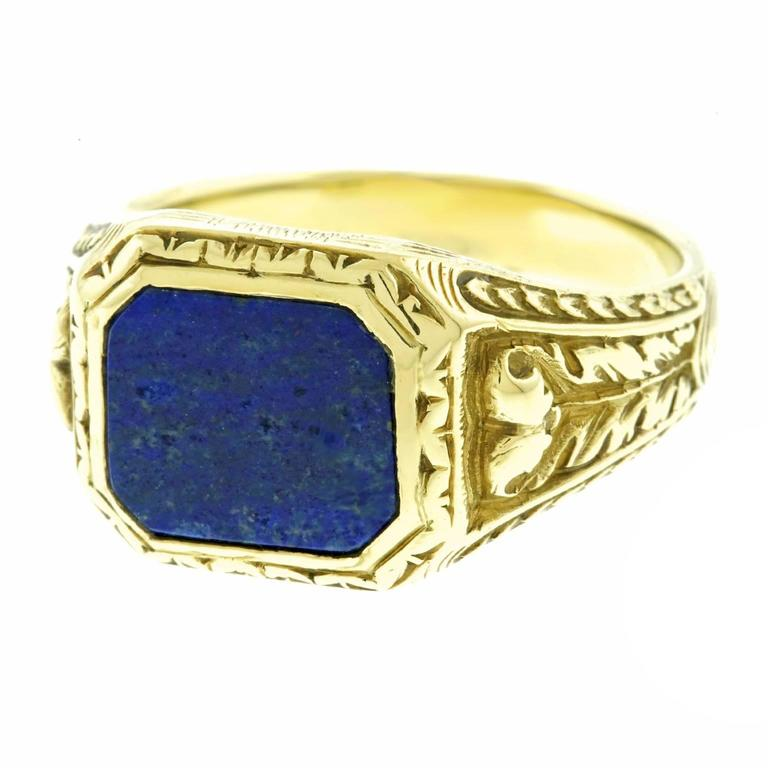 antique lapis lazuli gold signet ring at 1stdibs