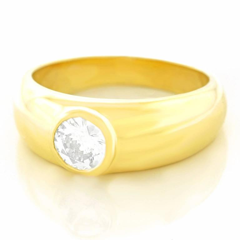 Gypsy Set Gold Ring .60 Carat Diamond In Excellent Condition For Sale In Litchfield, CT