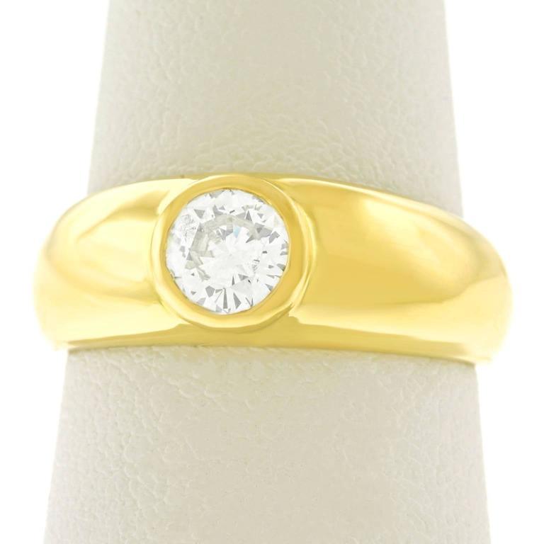 Gypsy Set Gold Ring .60 Carat Diamond For Sale 4