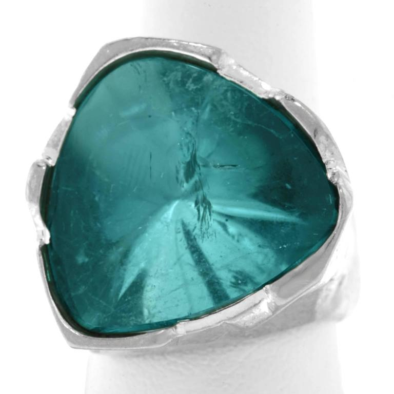 Spectacular Brutalist 30 Carat Blue Tourmaline and White Gold Ring 7