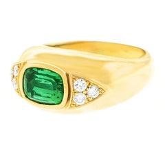 Tourmaline and Diamond Set Gold Ring