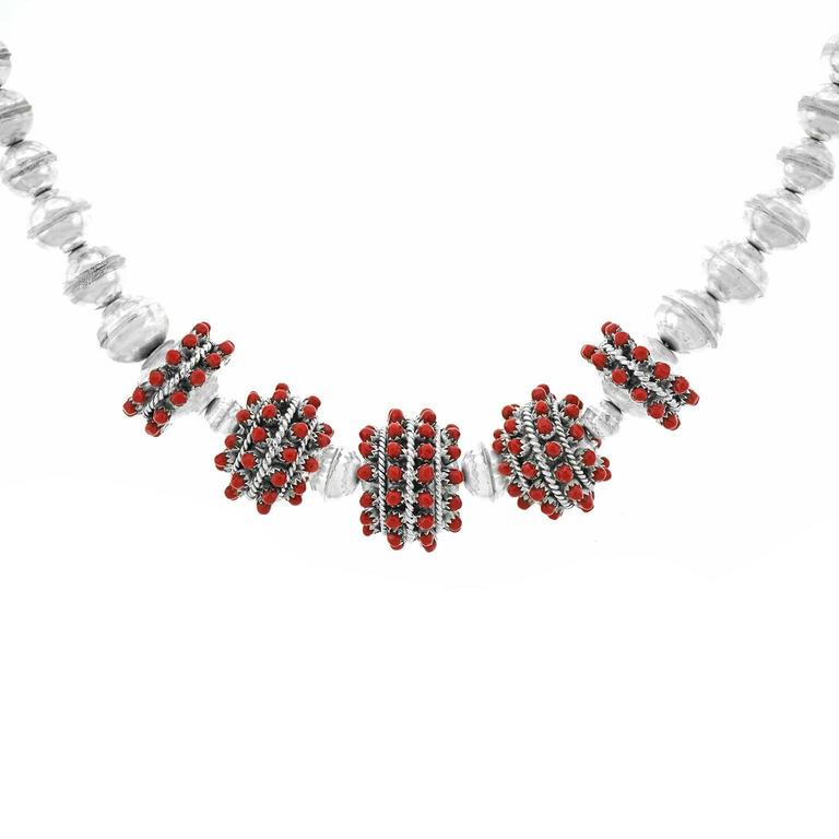 1960s Coral-Set Sterling Necklace For Sale 1