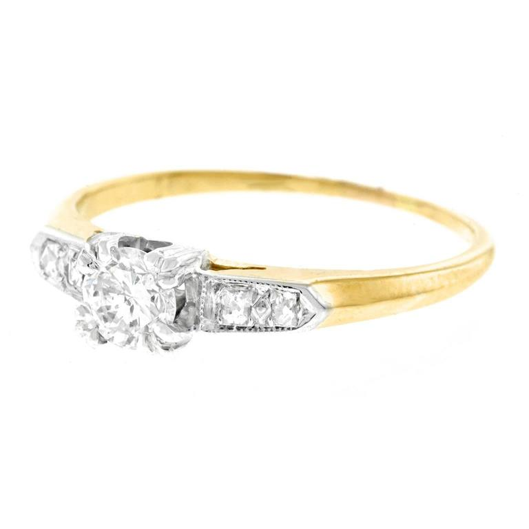 Art Deco Retro Forties Diamond set Gold Engagement Ring