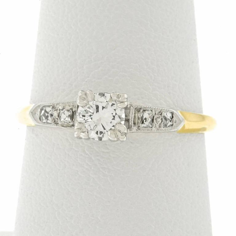 Retro Forties Diamond set Gold Engagement Ring 3
