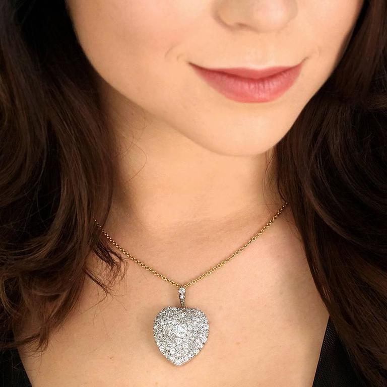Stunning Antique Diamond Gold Heart Pendant 4