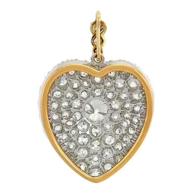 Stunning Antique Diamond Gold Heart Pendant 5