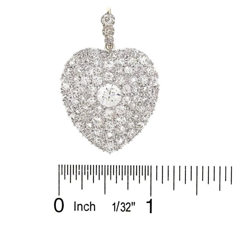 Stunning Antique Diamond Gold Heart Pendant 6