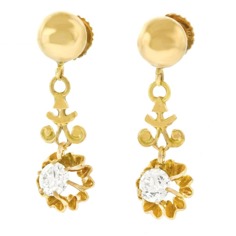 Diamond Drop Gold Earrings In Excellent Condition For Sale In Litchfield, CT
