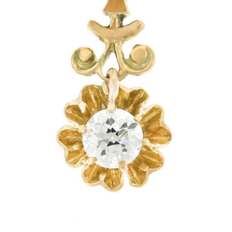 Diamond Drop Gold Earrings For Sale 1