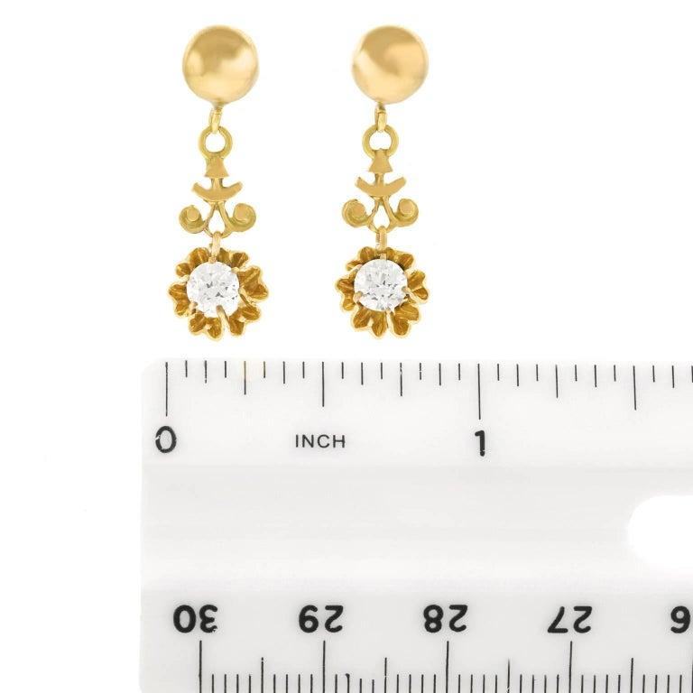 Diamond Drop Gold Earrings For Sale 2