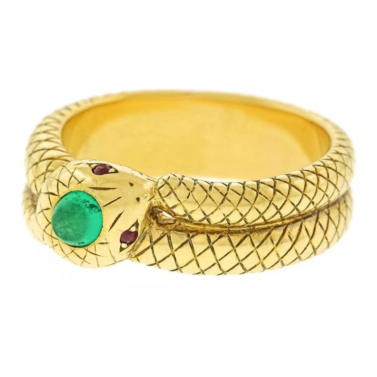 antique emerald gold snake ring for sale at 1stdibs