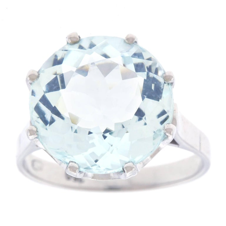 13 Carat Aquamarine and White Gold Fifties Ring