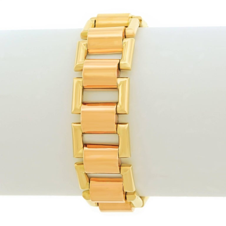 French Art Deco Gold Bracelet In Excellent Condition For Sale In Litchfield, CT