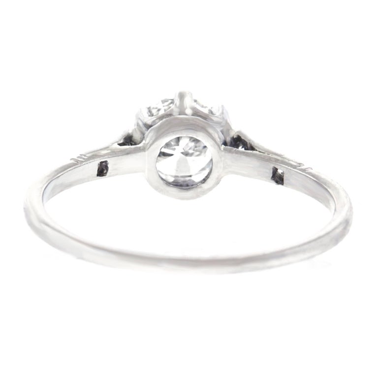 Art Deco Platinum Diamond Engagement Ring For Sale 1