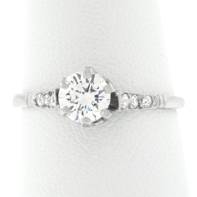 Art Deco Platinum Diamond Engagement Ring For Sale 4
