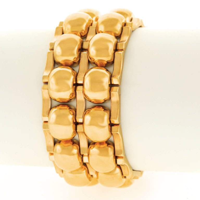 Chunky Art Deco Machine Age Gold Bracelet In Excellent Condition For Sale In Litchfield, CT