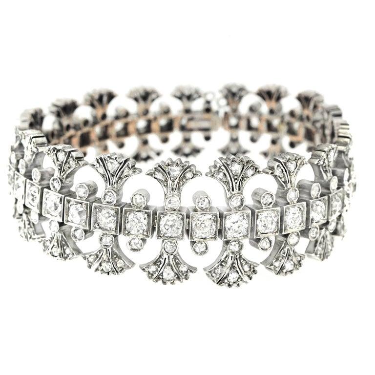 Antique Egyptian Revival Diamond Set Gold Bracelet