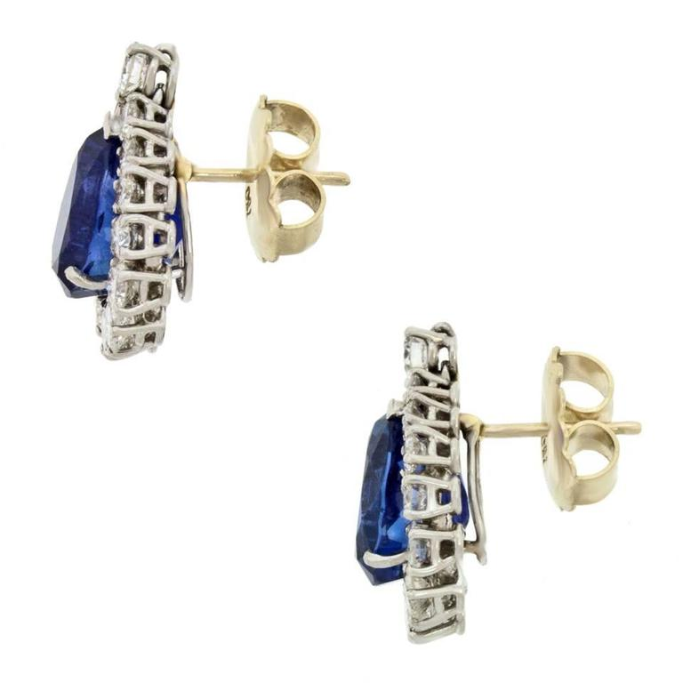 No-Heat Burma and Ceylon Sapphire & Diamond Platinum Earrings 6