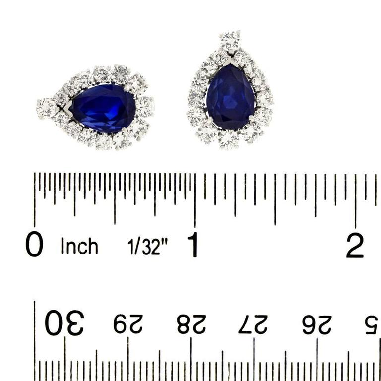 No-Heat Burma and Ceylon Sapphire & Diamond Platinum Earrings 5
