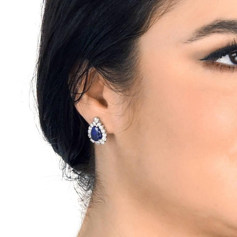 No-Heat Burma and Ceylon Sapphire & Diamond Platinum Earrings 4