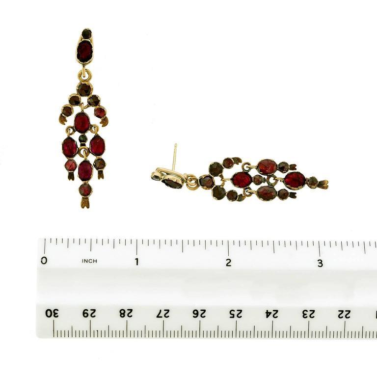 Gorgeous 19th Century French Garnet Gold Chandelier Earrings 7
