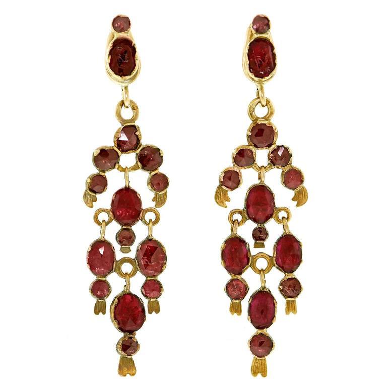 Gorgeous 19th Century French Garnet Gold Chandelier Earrings 1