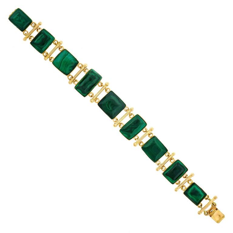 French Modern Malachite Gold Bracelet 3