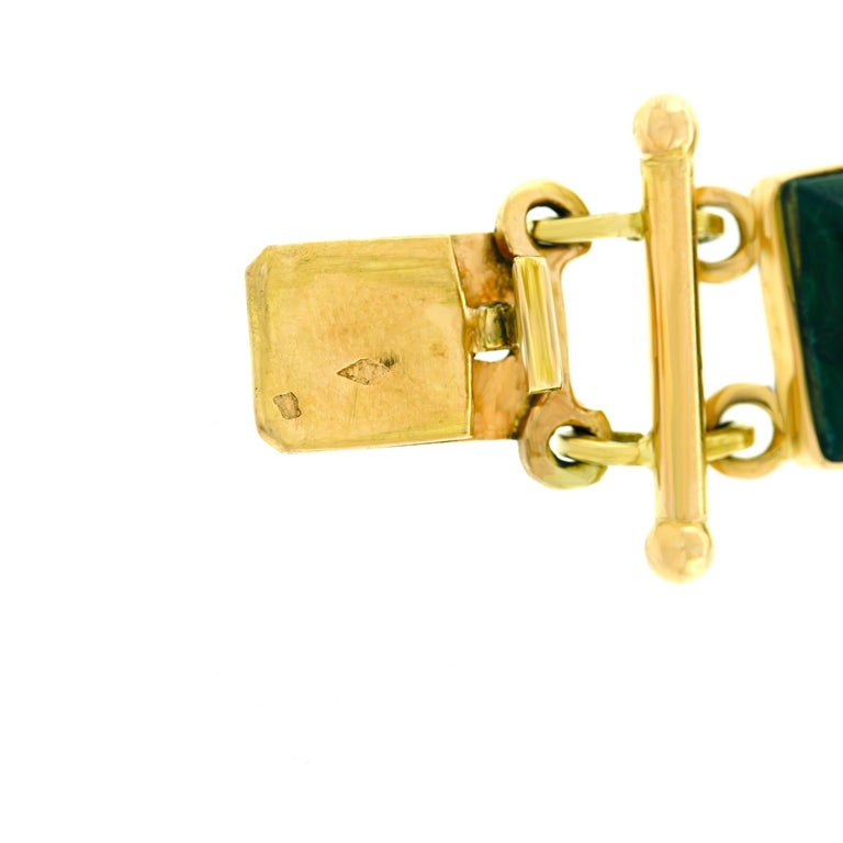 French Modern Malachite Gold Bracelet 5