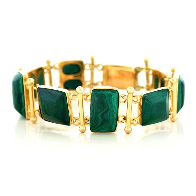 French Modern Malachite Gold Bracelet 6