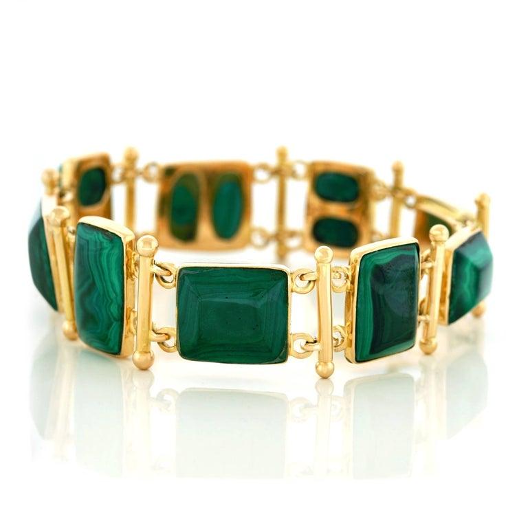 French Modern Malachite Gold Bracelet 7
